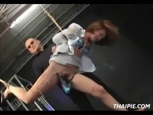 Bound hairy Asian teen toyed until she squirts