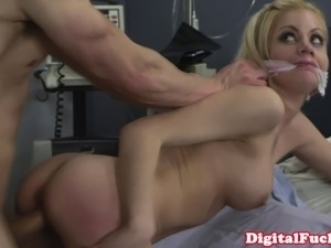 Big titted blonde nurse facialized by her favorite patient