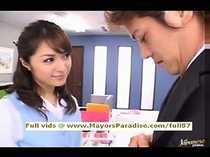 Mihiro smart Asian chick enjoys getting an office