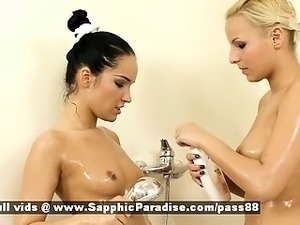 Eve and Esmeralda blonde and brunete lesbian babes kissing in the shower