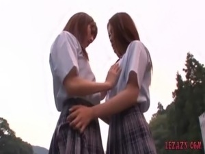 2 Schoolgirls Kissing Petting While Standing Outdoor free