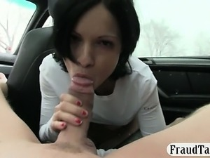 Horny black haired amateur chick fucked with nympho driver