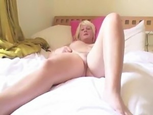 Chubby blonde Bryony shows off her muff and her big boobs