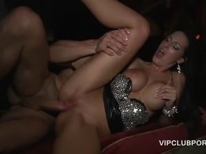 Sexy brunette gets soft pussy banged deep and jizzed on at a VIP sex party