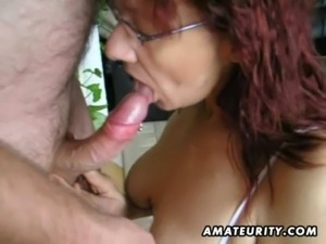 Hot amateur mature slut sucks and fucks with huge facial free