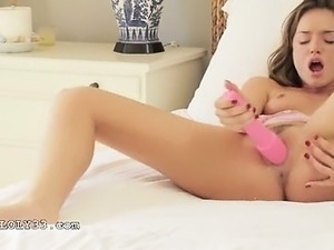 Endless orgasm with huge pink toy