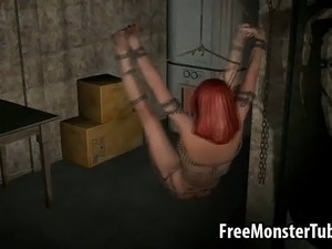 Boner inducing restrained and gagged 3D cartoon redhead hottie getting her...