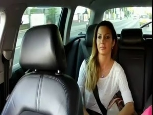 Big tits brunette amateur fucking in taxi free