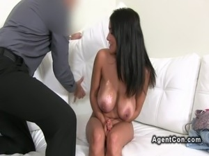 Huge tits amateur hottie bangs on casting free