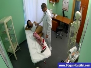 Real sexy babe at doctors fucked after sucking free