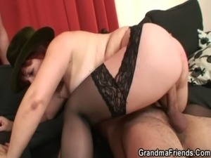 Poker playing granny swallowing two big cocks free