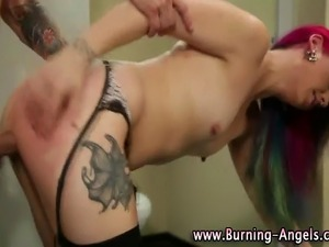 Watch this emo hoe getting facial after rough public fuck