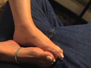 footjob with huge cum shot