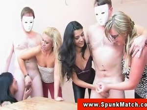 Euro CFNM babes wank dudes off at party and love to see them climax