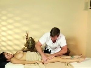 Massage for busty asian babe
