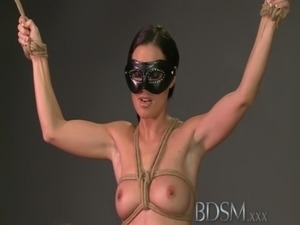 BDSM XXX Tied up sub beauty gets Masters full attention in dungeon free