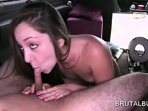 Teen beauty blowing shaft on the sex bus back seat