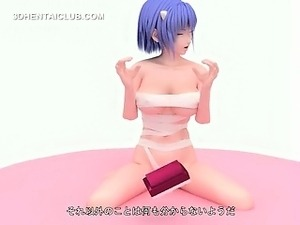 Blue haired hentai girl shows assets in tight body suit