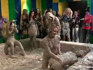 This Allwam mud wrestling event starts out as most others,