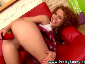Young naive ginger schoolgirl uses dildo and gets kinky