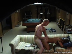 Her boyfriend is out of the way, and she jumps on his room mate's throbbing...
