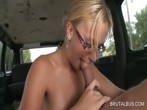 Doggie fucking in the bus with blonde amateur