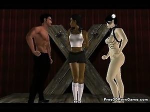 Tied up 3D cartoon ebony babe getting fucked hard