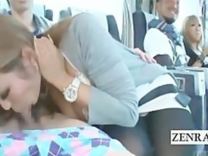 Subtitled busty tan Japanese gyaru gives blowjob on bus