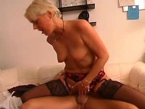 Blonde mature slut enjoys every second of getting her snatch pounded hard.