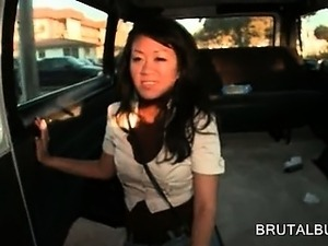 Asian hottie pussy nailed and face jizzed in the sex bus