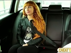 Slim amateur flashes her pussy and masturbates in taxi and gets fucked