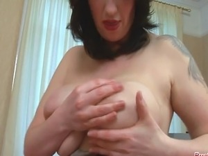 Mature Kandi Spitfire plays with her big juggs then sucks and tit fucks the...