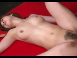 Cute thick bushed Asian takes a rough fuck creampie