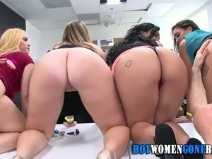 Amateur pussies get fingered by strippers at cfnm party