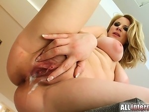 Tami is a cute busty blonde that loves to have cum inside her. Two guys pound...