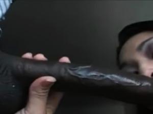 Interracial blowjob! Asian sucks black cock