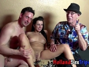 Real dutch skank fucks and sucks for cash in high def