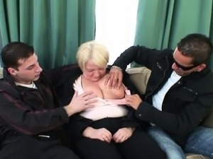 Old bitch is picked up by two dudes