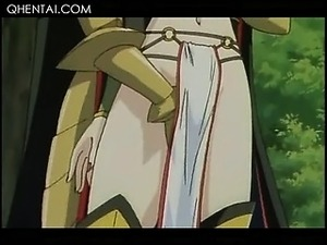 Hentai sweet princess taking loaded shaft in mouth and pussy