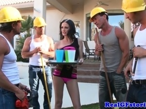 Slutty housewife real MILF blows four dudes outdoors