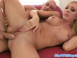 Crazy close up squirting blonde doing what she does on the sofa