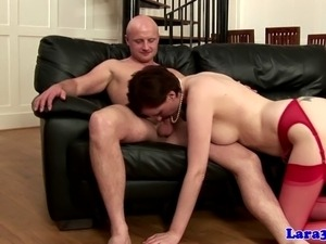 English mature in red stockings fucked from behind