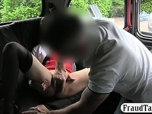 Lusty stewardess nailed in the backseat by pervert stranger