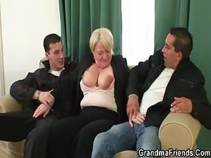 Totally drunk granny takes two cocks