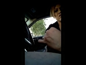 Flashing horny milf while driving, pulls over for more