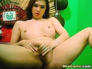 Busty Shemale Lubes her Big Dick