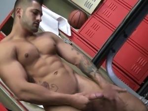Muscled virile stud tugs