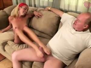 Yenny gives grandpa hot footjob