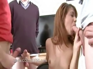 Two young bisexual girls gag dick