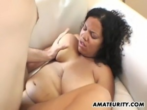 Black amateur girlfriend with big tits in action free